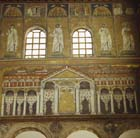 View of buildings of Ravenna with saints and prophets, Church of Sant Apollinare Nuovo, Ravenna, Italy