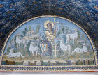 Italy, Ravenna the Good Shepherd 5th century Byzantine mosaic in the mausoleum of Galla Placidia