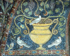 Italy, Ravenna the Vine and the Dove symbols of the resurrection, 6th century Byzantine mosaic in San Vitale