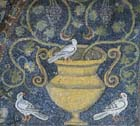 Vine representing eucharist chalice and trinity of doves symbolising resurrection, Church of San Vitale, Ravenna, Italy