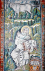 Italy, Ravenna St Luke and his symbol 6th century Byzantine mosaic in the Basilica of San Vitale