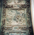 Baptism of Christ, detail of sixteenth century bronze panel in west door, Duomo, Pisa, Italy