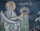 Italy Ravenna San Vitale Jeremiah detail of the prophet holding scroll 6th century Byzantine  mosaic