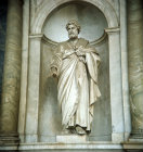 Italy Rome St Pauls Basilica marble statue of St Peter holding the keys