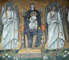 Italy, Ravenna, the Blessed Virgin Mary and Child 6th century Byzantine mosaic Sant