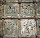The Mocking, the Way to Calvary, the Flagellation and the Crucifixion,  11th-12th century bronze doors, Basilica of San Zeno, Verona, Italy