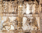 Betrayal, Crucifixion, Flight into Egypt and Baptism, twelfth century bronze door sculpture, San Zeno, Verona, Italy