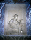 Tomb of Dante, circa 1265-1321, relief by Pietro Lombardo, 1483, Ravenna, Italy