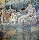 Odysseus offering wine to Polyphemus, third to fourth century, Villa Romana del Casale, Piazza Armerina, Sicily, Italy