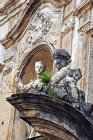 Baroque carving on façade of church, Monreale, Sicily, Italy