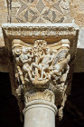 Adam and Eve, carved capital, Monreale Cathedral, dedicated to Assumption of Virgin Mary, begun by Norman King William II in 1174, Monreale, Sicily, Italy