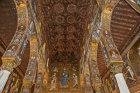 Muqarnas or honeycomb vaults, Christ Pantocrator and angels, Palatine Chapel, palace of the Norman kings of Sicily, built by Roger II, Palermo, Sicily, Italy