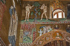 Adam and Eve and the Serpent, Palatine Chapel, palace of the Norman kings of Sicily, built by Roger II, Palermo, Sicily, Italy