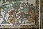 Boar hunt, detail from Small Hunt, fourth century Roman Villa del Casale, near Piazza Armerina, Sicily, Italy