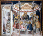 Italy, Assisi the Last Supper wall painting by Pietro Lorenzetti in the Lower Church