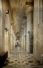 Cathedral of Siracusa, interior, showing Doric columns from recycled fifth century Greek temple of Athena, rebuilt by Bishop Zosimo in seventh century, Sicily, Italy