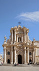 Gothic façade of Cathedral of Siracusa, recycled fifth century Greek temple of Athena, rebuilt by Bishop Zosimo in seventh century, Siracusa, Sicily, Italy