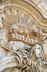 Carving on eighteenth century baroque cathedral, Modica Alta, Sicily, Italy