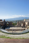 Greco-Roman theatre with Mount Etna in the distance, Taormina, Sicily, Italy