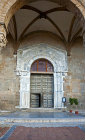 Cefalu Cathedral, west entrance, built in 1131 by Norman King Roger II of Sicily, Cefalu, Sicily, Italy
