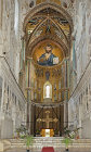 Christ Pantocrator, the Virgin Mary, chancel, CefaIu Cathedral, built by Norman King Roger II of Sicily, Cefalu, Sicily, Italy