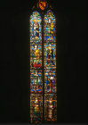 St Sylvester window, by Maso di Banco, 1340. Santa Croce, Florence, Italy