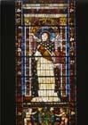 St Thomas Aquinas, 15th century stained glass, Santa Maria Novella, Florence, Italy