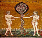 Temptation of Adam and Eve, Monreale Cathedral, Sicily