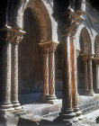 Cloisters circa 1175, decorated columns, Cathedral of Monreale, Sicily, Italy