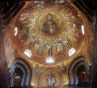 Christ Pantocrator, angels and archangels, twelfth century Byzantine mosaics in cupola of Palatine Chapel, Palermo, Sicily, Italy