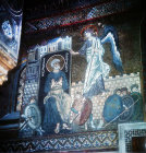St Peter and angel, twelfth century Byzantine mosaics, Palatine Chapel, Palermo, Sicily, Italy