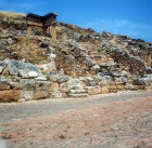 Portion of the brick-paved decumanus with ruins of houses alongside, Solunto, Sicily, Italy