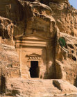 Carved façade at entrance to possible place where traders stayed, Siq al-Barid (cold gorge) Ist century AD at Beida, near Petra, Jordan