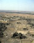 Umm el-Jimal, originally Nabataean city, taken over by Romans, Byzantines, Umayyads and Abbasids, barracks in foreground, aerial, Jordan