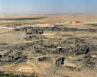 Umm el-Jimal, originally Nabataean city, taken over by Romans, Byzantines, Umayyads and Abbasids, built of black basalt, aerial, north Jordan