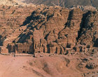 Royal tombs, Ist century AD, carved in face of Jabal-al-Kubtha on East of Petra basin, aerial, Petra, Jordan