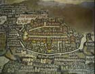 Jerusalem, detail of 6th century mosaic map, floor of Orthodox Parish Church of St George, Madaba, Jordan