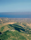 Mount Nebo, Memorial of Moses at Siyagha, Moab, Dead Sea beyond, believed to be place where Moses viewed the Promised Land, aerial, Jordan