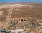 Qasr al-Mushatta, richly decorated Ummayad palace, 743-744 AD, aerial, Jordan