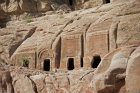 Tombs, Ist century BC-AD, near theatre, showing single crowstep and arch-topped design, Petra, Jordan