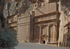 Jordan Petra tomb at west end of outer Siq with monumental crowstep 1st century BC-AD
