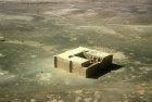 Qasr al-Kharanah, eighth century Umayyad palace, aerial photograph, Jordan
