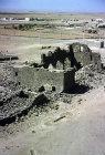 Umm el-Jimal, originally Nabataean city, taken over by Romans, Byzantines, Umayyads and Abbasids, built of basalt, west church, aerial, Jordan