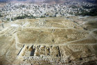 Churches of SS Cosmas and Damian, St John the Baptist and St George, aerial photograph, Jerash, Jordan
