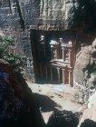 Treasury seen from end of Siq (above), Petra, Jordan