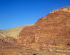 Urn tomb, centre, and Corinthian tomb, left, carved in west face of Al-Khubtha mountain, Petra, Jordan