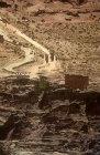 Qasr al-Bint colonnaded street and arched gate, aerial photograph, Petra, Jordan