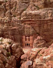 Treasury (Khazneh) Ist century BC-AD, carved into rock face opposite Siq, aerial, Petra, Jordan