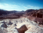 Nabataean quarry and view across Petra basin, Petra, Jordan