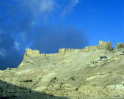 Kerak Crusader Castle, built by the Crusaders in 1140, situated 10 miles south of the Dead Sea peninsula, aerial photo, Kerak, Jordan